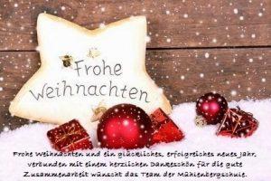 Frohe Weihnachten und ein glückliches, erfolgreiches neues Jahr, verbunden mit einem herzlichen Dankeschön für die gute Zusammenarbeit wünscht das Team der Mühlenbergschule.